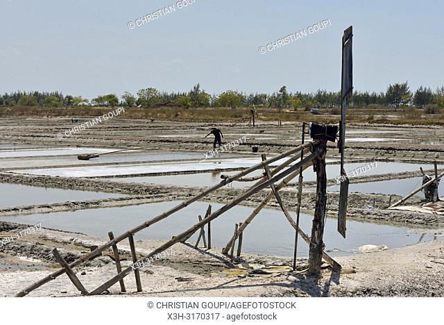 Salt ponds of Punjulharjo Village near Lasem, Java island, Indonesia, Southeast Asia