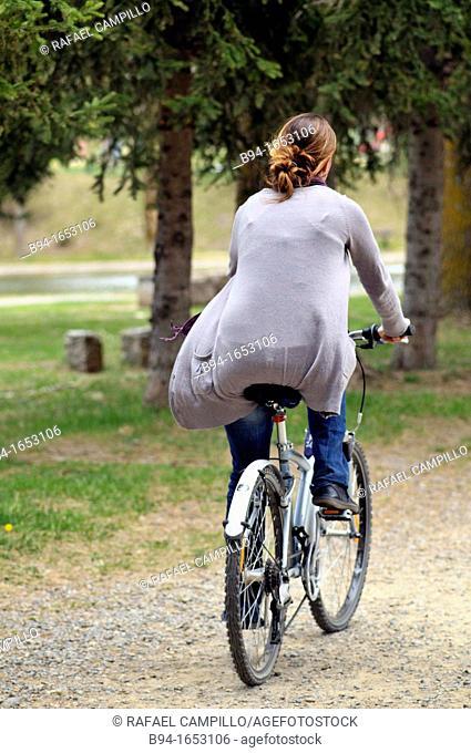 Girl on bike. Osseja. Languedoc Roussillon. Pyrénées Orientales. France