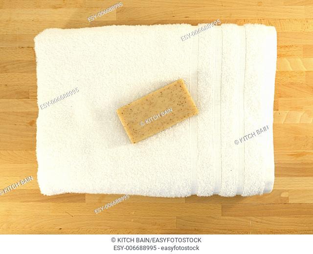 A close up shot of a bar of soap