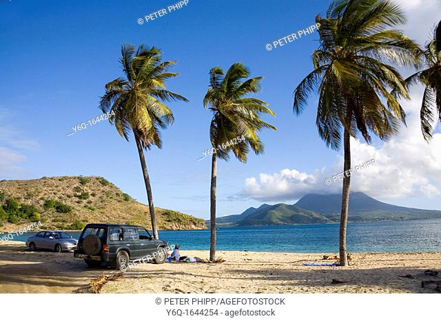 Cockleshell Bay at St Kitts in the Caribbean, with Nevis in the distance
