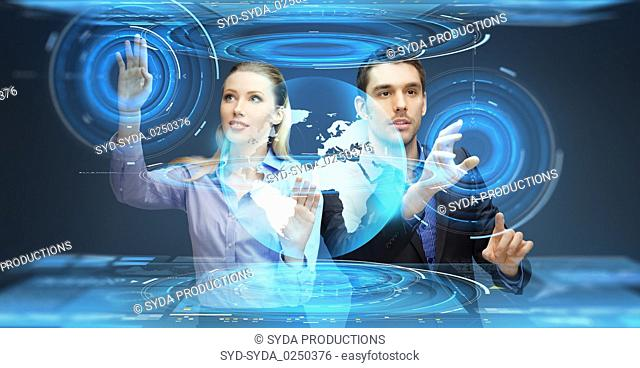 businessman and businesswoman with virtual earth