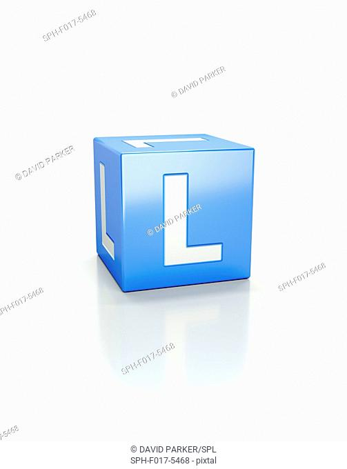 Blue cube with letter L