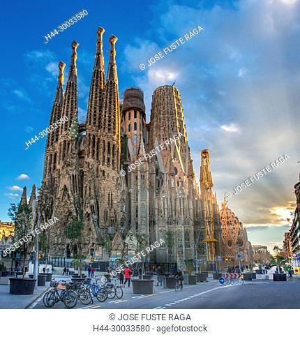 Spain, Catalunya, Barcelona City, Sagrada Familia Temple, Gaudi