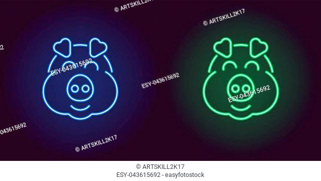 Neon piglet face in blue and green color. Vector illustration of cartoon Pig head with smile in glowing neon style. Illuminated graphic element for decoration...