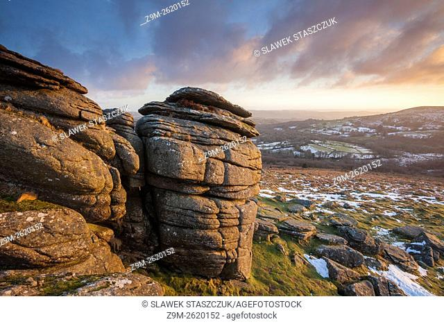 Winter sunrise at Hound Tor, Dartmoor National Park, Devon, England