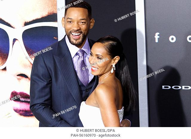US actor and cast member Will Smith arrives with his wife US actress Jada Pinkett Smith for the World Premiere of Warner Bros Pictures 'Focus' at TCL Chinese...