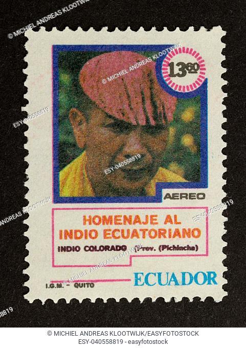ECUADOR - CIRCA 1980: Stamp printed in Ecuador shows a local, circa 1980