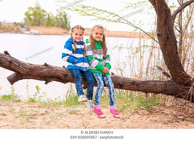 Girls in cool weather sit on a fallen tree on the bank of the river and the smiling face in the frame
