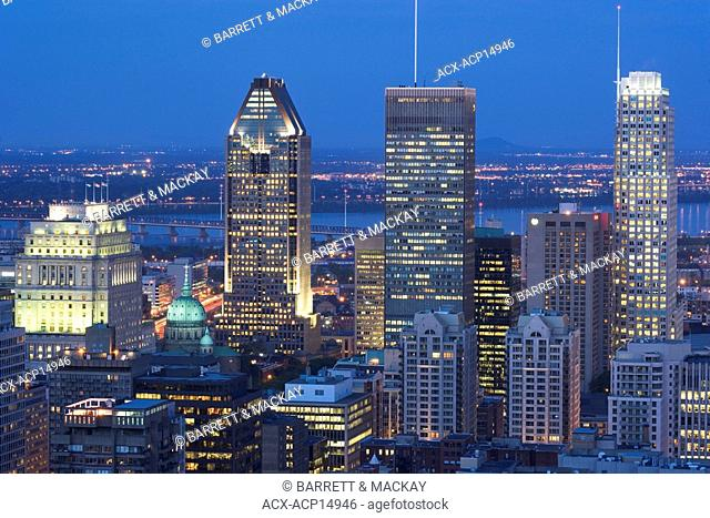 View of Downtown Montreal at night from Grand Chalet, Mount Royal Park, Montreal, Quebec, Canada
