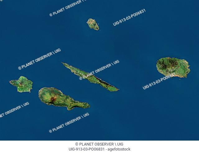 Satellite view of the Azores Central Islands, Portugal. The Central Group includes the islands of Terceira, Graciosa, Sao Jorge, Pico and Faial