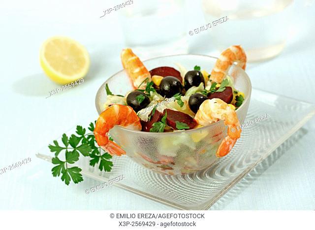 Beetroot and shrimps salad