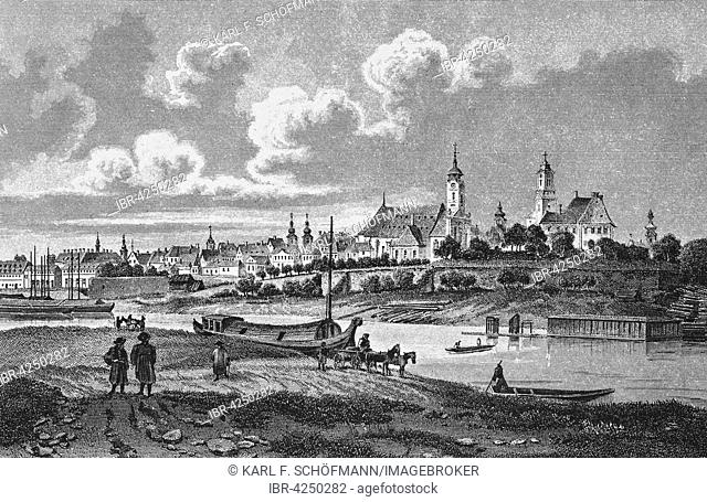 Steel engraving, historic city view, Gyor, 1845, Hungary
