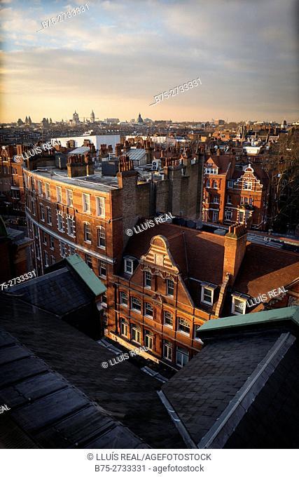 London's skyline at twilight. Chelsea, Knightsbridge, London, England