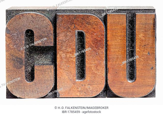 CDU, Christian-Democratic Union, wooden book printing letters, poster type