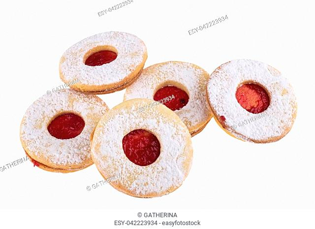 Homemade Christmas sweets with sugar powder and jam isolated on white background