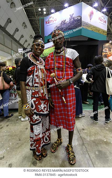 September 22, 2018, Tokyo, Japan - Exhibitors from Kenya pose for a photograph during the Tourism EXPO Japan 2018 in Tokyo Big Sight