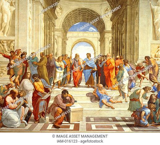 The School of Athens' , 1511 (detail). Fresco. Raphael (Rafael Sanzio 1483 -1520) Italian painter and architect. Plato and Aristotle (centre) in discussion