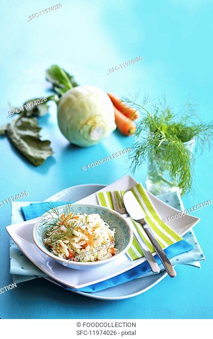 Kohlrabi salad with carrots and fresh dill