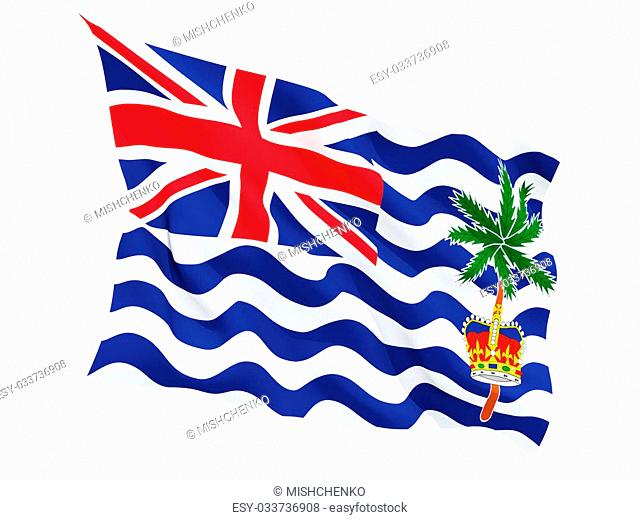 Waving flag of british indian ocean territory isolated on white