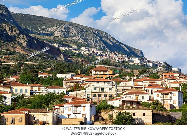 Greece, Central Greece Region, Chriso, town view with Delphi, late afternoon