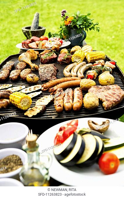 A summer barbecue in a garden