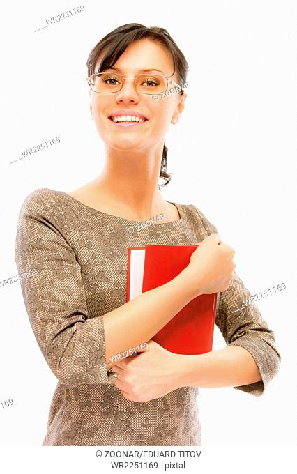 Portrait of charming student with textbook