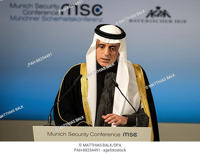 Adel al-Jubeir, Foreign Minister of Saudi Arabia, speaks during the Munich Security conference at the Bayerische Hof hotel in Munich
