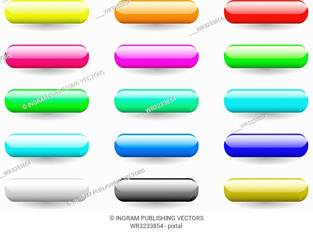 Twelve brightly coloured lozenge shaped icons buttons with drop shadow