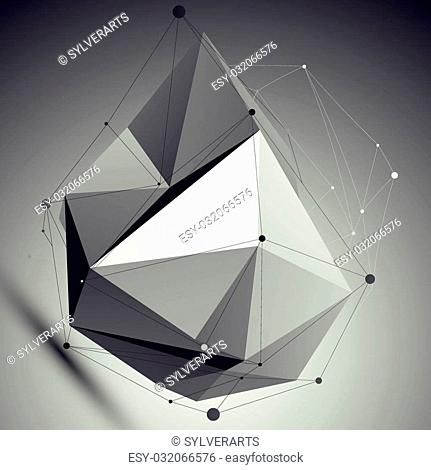 Asymmetric 3D abstract object with lines and dots placed over dark background. Contrast futuristic backdrop with wireframe