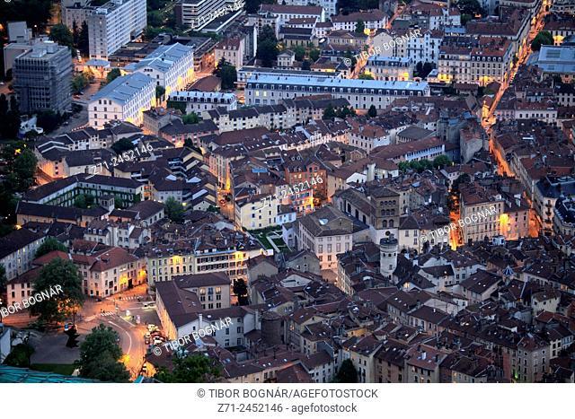 France, Rhône-Alpes, Grenoble, skyline, general aerial view, panorama, night