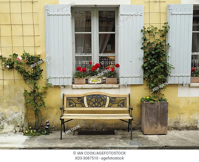 window and a bench, Monpazier, Dordogne Department, Aquitaine, France