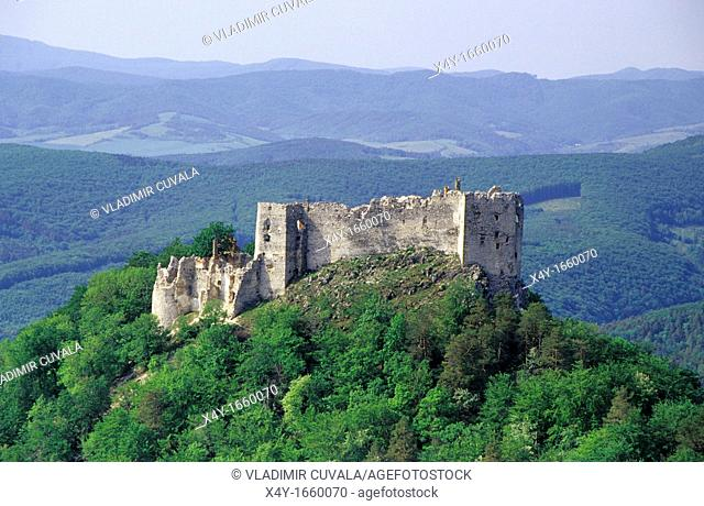 The ruins of castle Uhrovec, Nitricke vrchy Strazovske vrchy near Uhrovske Podhradie, Slovakia