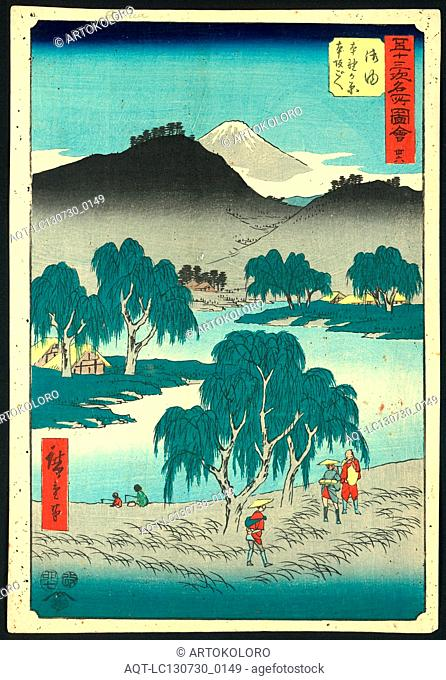 Goyu, Ando, Hiroshige, 1797-1858, artist, [ca. 1855], 1 print : woodcut, color ; 36 x 24.7 cm., Print shows a bird's-eye view of pilgrims at the 36th station on...
