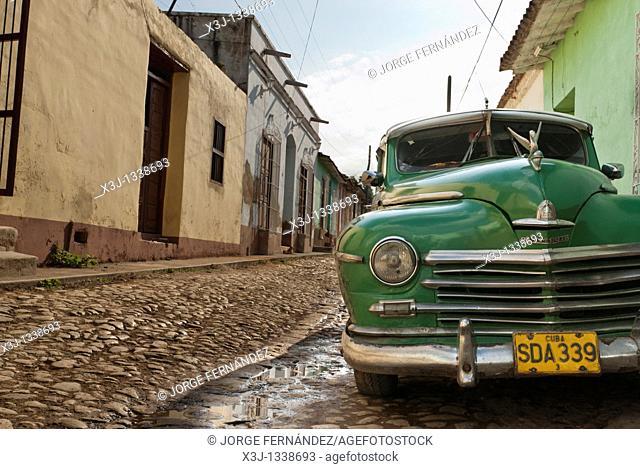Old car on the streets of Trinidad, Sancti Spiritus, Cuba