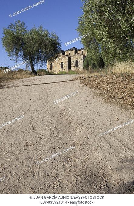 Visigothic Basilica of Santa Lucia del Trampal, Alcuescar, Spain. Outdoors view