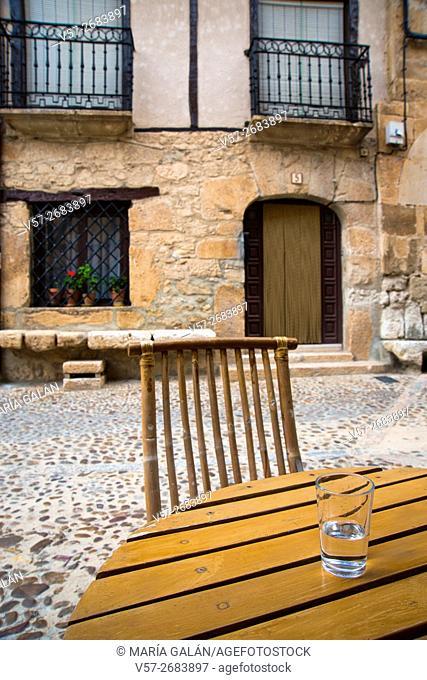 Glass of water in a terrace. Peñaranda de Duero, Burgos province, Castilla Leon, Spain