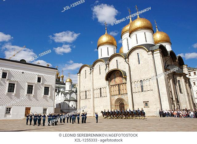 Soldiers of the Presidential Regiment parade in the Cathedral Square  Kremlin, Moscow, Russia