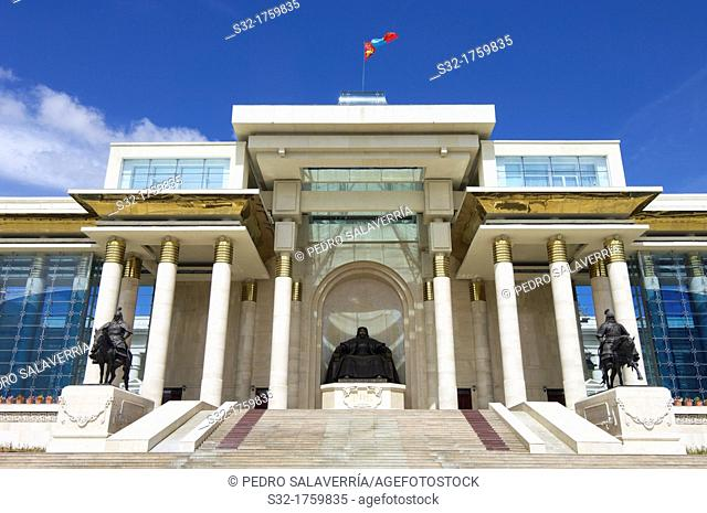 Main entrance of the Parliament of Mongolia, dominated by a statue of Genghis Khan, Ulan Bator, Mongolia
