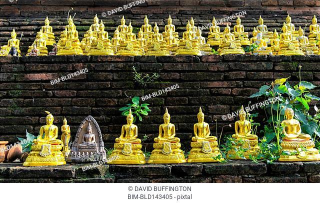 Golden Buddha statues arranged on wall