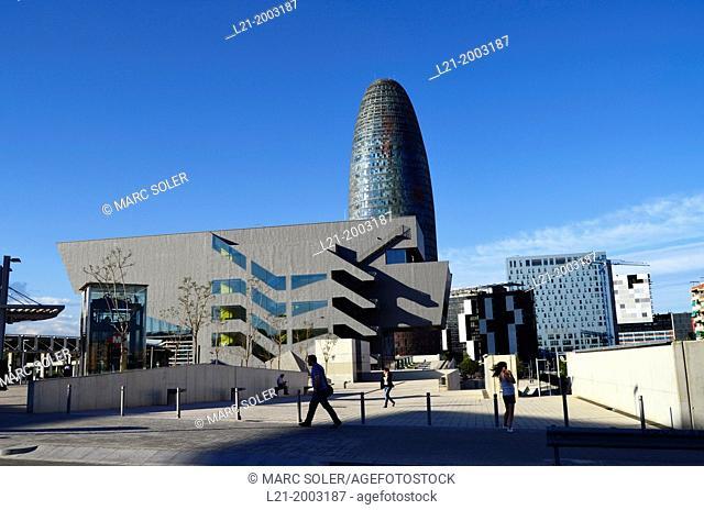 Design Hub Barcelona, Agbar Tower, Hotel Silken Diagonal, Novotel Barcelona City Hotel. Plaça de les Glòries, Barcelona, Catalonia, Spain