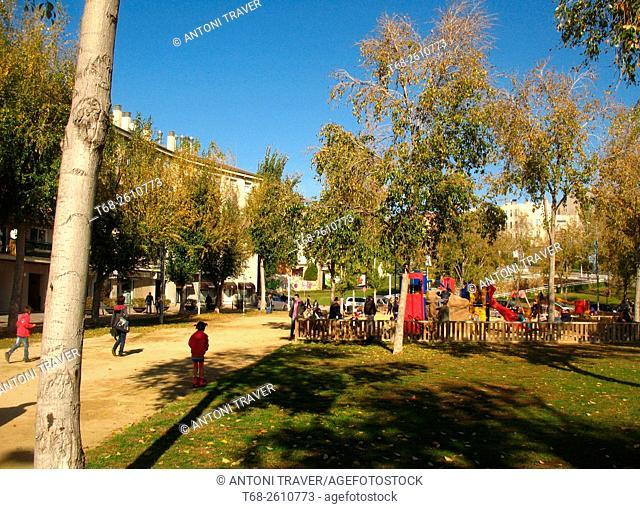Urban park, Sant Cugat del Valles, Barcelona, Catalonia, Spain