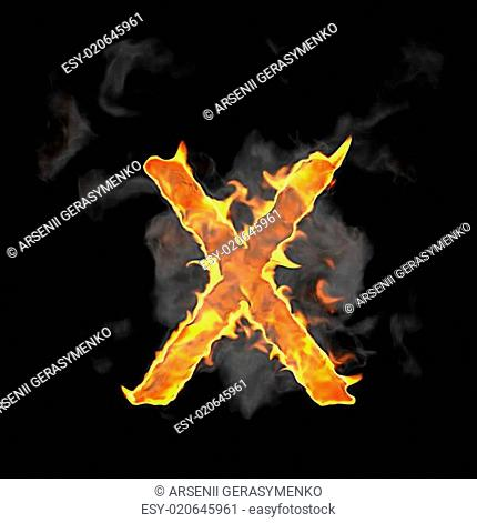 Burning and flame font X letter
