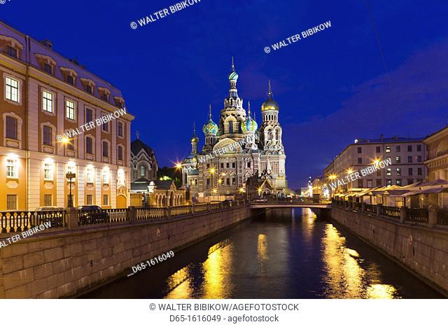 Russia, Saint Petersburg, Center, Church of the Saviour of Spilled Blood on Griboedov Canal, exterior, evening