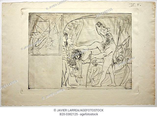 """""""Minotaure aveugle guidé par une petite fille aux fleurs"""", 1934, Pablo Picasso, Picasso Museum, Paris, France, Europe"""
