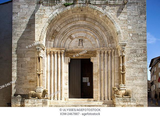 portal, Collegiata or Pieve di Osenna, San Quirico d' Orcia, Tuscany, Italy, Europe