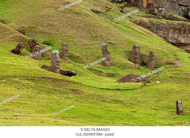 Group of Rano Raraku moai statue on Easter Island