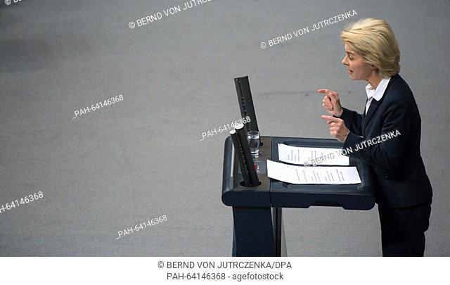 German Minister of Defence Ursula von der Leyen speaks during the debate on the deployment of the German Bundeswehr against the terror militia Islamic State...