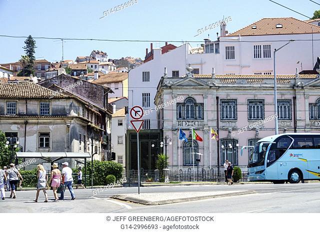 Portugal, Coimbra, historic center, riverfront, Emidio Navarro Avenue, traffic sign, crossing, pedestrian, street, Portuguese Europe EU European Hispanic
