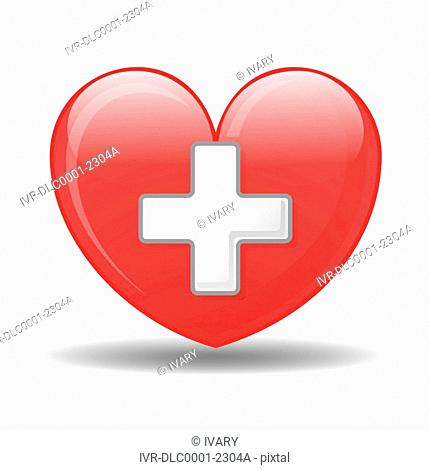 Illustration heart with plus sign