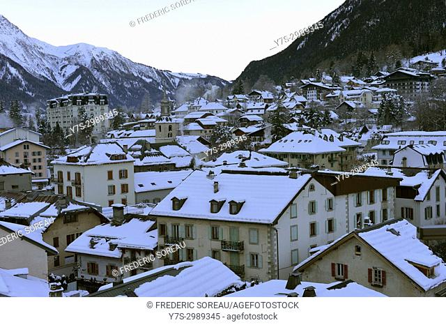 Buildings in Chamonix Mont Blanc,French Alps,Haute Savoie,France,Europe